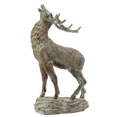 RAZ Imports 18 inch Standing Deer on Base White Brown Christmas Winter Snow NEW!