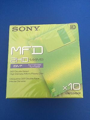 Pack Sony MFD 2HD 1.44MB IBM Formatted 3.5 Double Sided Floppy Disk 10MFD2HDGF