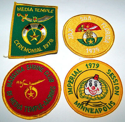 (4) New Late 1970's Misc Temples Masonic Shriners Vest / Jacket Patches