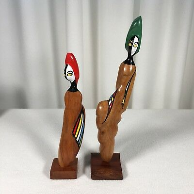 Wooden Carving Statues Alien Faces Unknown Origin Solid Wood Hand Made Painted