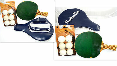 Lot Vtg Table Tennis Racket Ping-Pong Paddle & Butterfly Case & 6 Balls