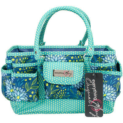 "Everything Mary Deluxe Store & Tote Organizer 13.5""X10""X8"" Navy & Teal Floral W/"