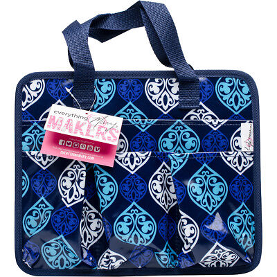 "Everything Mary Makers Carry All Tote 9.75""X11.75""X6"" Blue Quatrefoil Print W/Na"