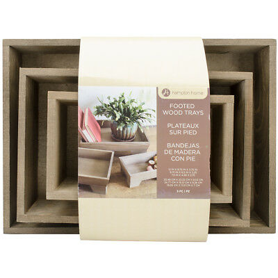 """Hampton Art Rustic Footed Wooden Tray Set 3/Pkg 12"""" WD0005"""