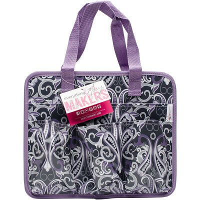 "Everything Mary Makers Carry All Tote 9.75""X11.75""X6"" Gray & Purple Paisley W/Pu"