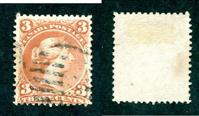 Used Canada 3 Cent Queen Victoria Large Queen Stamp #25 (Lot #13408)