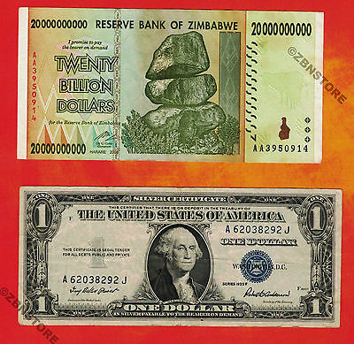 1$ US Silver Certificate 1935 + 20 Billion Zimbabwe Dollars Banknote AA 2008 Set
