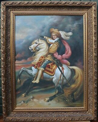 Fabulous Very Very Large Wide Gilt Framed Painting On Canvas By Roberto Perez