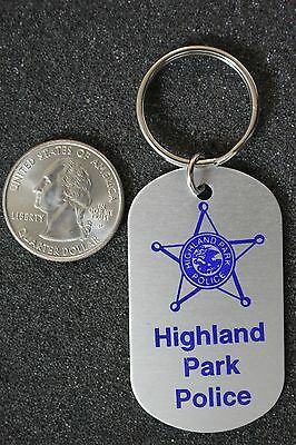 Highland Park Illinois Police Department Dog Tag Keychain Key Ring #19926