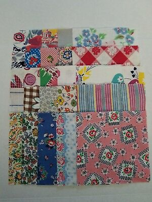 """(lot#020) vintage 1920s 1930s feed sack quilting material 5""""x5"""" charm squares"""