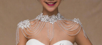 Pearls Crystal Bridal Jewelry Wedding Shoulder Wrap Body Chain Tassel Necklace