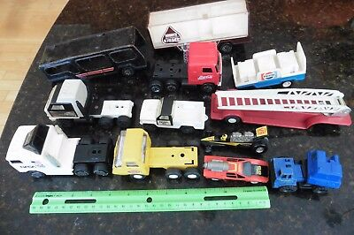 11 Tonka toys Buddy L Fire engine Coca cola Truck Pepsi tin plastic Racing Cars