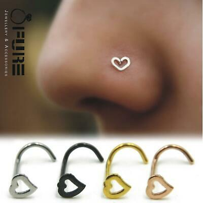 1 Pc Stainless Steel Heart SHAPES Nose Studs Pins Rings Womens Jewellery