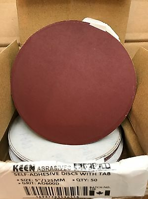 "BOX OF 50, KEEN #36116, 5"" PSA sandPaper Sanding Disc No Vac Hole 600 Grit"