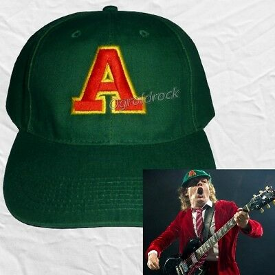 AC/DC Angus Young Replica Green Embroidered Hat A Logo Malcom TNT Gabardine Cap