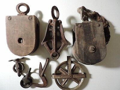 antique barn pulleys, wood, cast iron and zinc large and small lot of 5