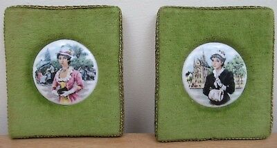 Two Vintage Round Ceramic Pictures of Women on Embroidered Felt Wall Hangings