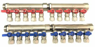 "3/4"" 10-Loops Ball Valve Brass Pex Manifold for 1/2"" Pex"