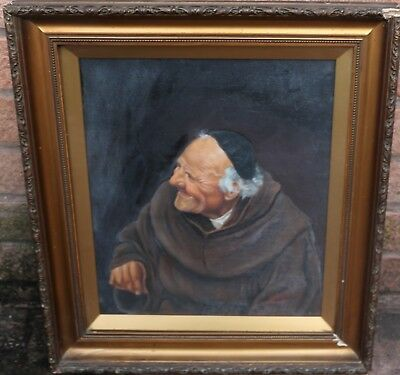 Old Gilt Framed & Glazed Painting On Canvas Of A Monk Or Friar By J Beech 1907