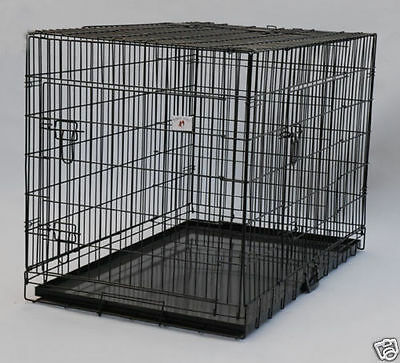 """Extra Large 48"""" Folding Pet Dog Cage Crate Kennel With Plastic Pan Black-358"""