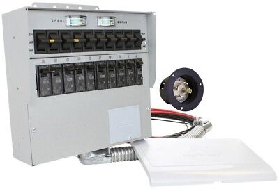 Office Home 10-Circuit Indoor Power Generator Manual Transfer Switch, 30 Amp NEW
