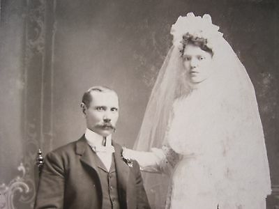 INSTANT ANCESTORS black and white cabinet photo WEDDING PHOTO OF BRIDE AND GROOM