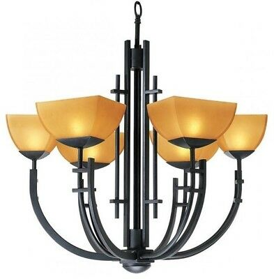 Access 26126-ABRZ Amber Glass Antique Bronze Up Chandelier