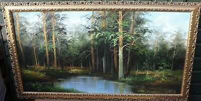 Very Large Gilt Framed Painting On Canvas Of Woodland Landscape Signed