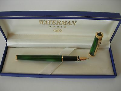 Waterman Preface Fountain Marble Green Laque Gold F  18Kl 750