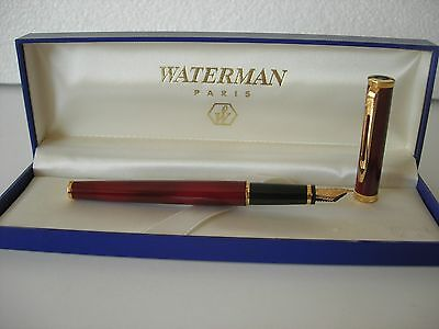 Waterman Preface Fountain Marble Red Laque Gold F  18KL 750