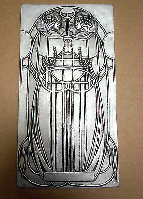 Art nouveau wall plaque, Mackintosh style silver or cream effect