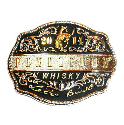 2014 Pendleton Whisky Rodeo Let'er Buck Montana Silversmiths Belt Buckle
