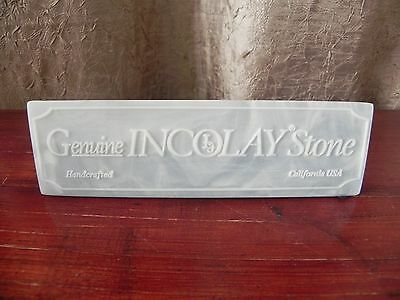 Genuine Handcrafted Incolay Stone Display Sign Counter Advertising USA Blue