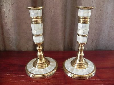 Beautiful Brass With Mother of Pearl Inlay Decoration Candlestick Candle Holder