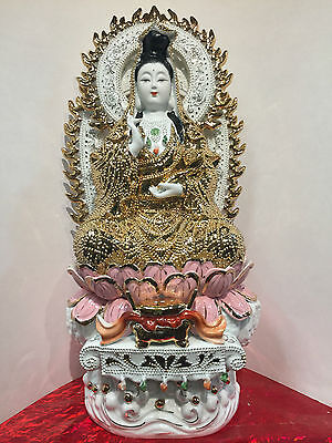 Guan Yin Vintage 20 Inches Buddha Figurines Statue Gold And Wishing Wand