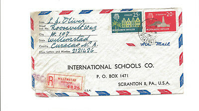1959 Curacao registered airmail cover to Scranton PA
