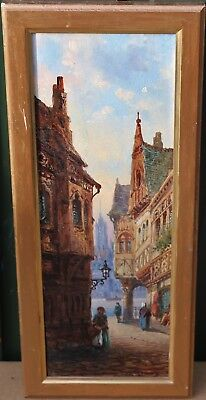Fine Looking Small Gilt Framed Painting On Board Of Street Type Scene Signed