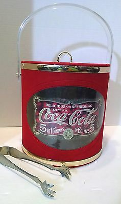 Vintage Coca-Cola Ice Bucket Cooler w/ Chicken Feet Tongs Red USA  Coke Drink