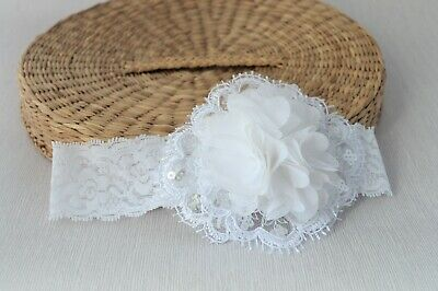Christening White baby hair band Baptism chiffon Flower Girl Wedding UK Handmade