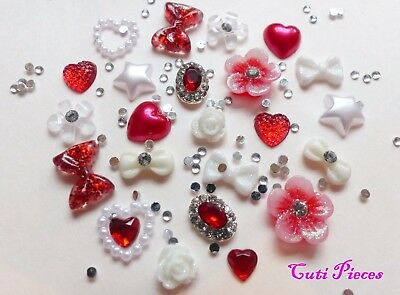 "24pcs 3D Nail Art Red Silver White ""Xmas Jewel"" Rhinestone Flower Star Bow Alloy"