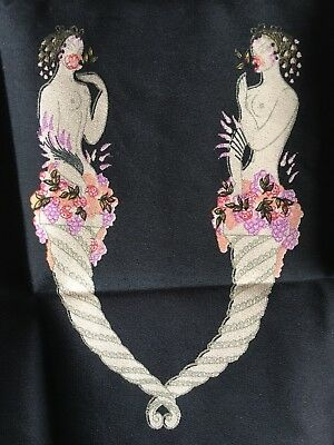 ERTE ART DECO LETTER 'V' 1980 Vintage 1/2 (half Cut) Silk Scarf For Framing