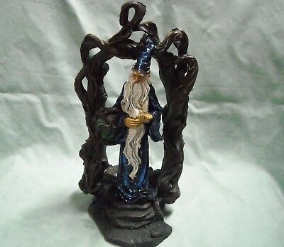 "8"" Brilliant Blue Woodland Wizard Elf Figurine"