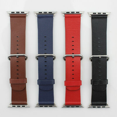 Real Leather / Silicone Strap Replacement Wristband for Apple Watch 42/38 mm