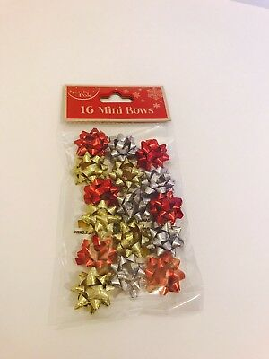 16 X Mini Christmas Birthday Gift Bows Wrapping Present Red Gold Silver Metallic