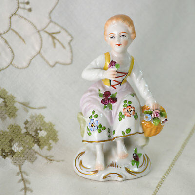 Vintage Sitzendorf German Porcelain Girl / Woman Figurine Posy & Basket Flowers
