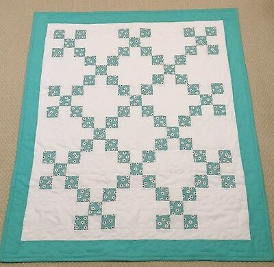 New Handcrafted Cotton Aqua/White  Floral Irish Chain Baby Quilt