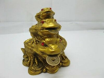 1 X Chinese Feng Shui Wealth 3-Money Toad Frogs 90mm High(FS-S117)