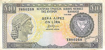 Cyprus 10 pounds 1.10.1988 P 51  Series Y   circulated Banknote  G. WM2