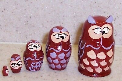 select color Owls * Brown or White * Russian Mini Nesting Doll * 5 Pc / 1.5 in
