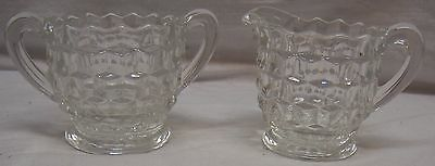 Vintage Set Of Small Clear Fostoria Americana Footed Sugar And Creamer - Cubist